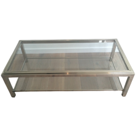 LARGE CHROME COFFEE TABLE