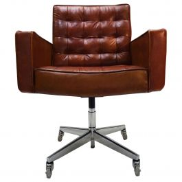 Midcentury Knoll Cognac Leather and Aluminum Task Chair by Vincent