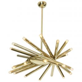 Rare Brass 24 Light Stilnovo Chandelier, circa 1960, Italy