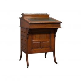 Antique Davenport, English Walnut, Bird's-Eye Maple Writing Desk, Victorian