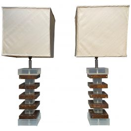 Pair of Tall Lucite and Faux Tortoise Shell Stacked Table Lamps
