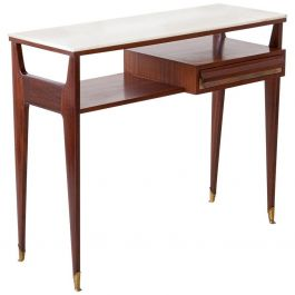 1950s Italian Mahogany Brass Console with Marble Top