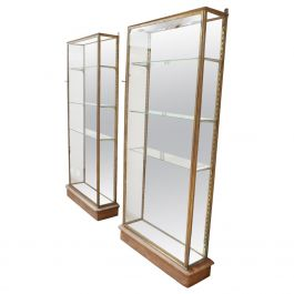 Pair of Brass Antique French Vitrine Display Cabinets
