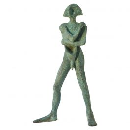 Sculpture in Bronze 'Compass', Standing Man with Green Patina