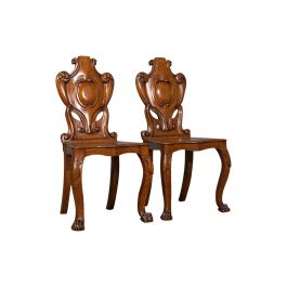 Pair of Antique Shield Back Chairs, Scottish, Oak Hall Seat Victorian circa 1880