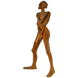 Sculpture in Bronze 'Compass', Standing Man with Brown Patina
