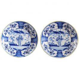 Pair of Blue and White English Delft Chargers