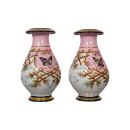 Antique Pair of Peony Vases, French, Decorative Ceramic Urn, Victorian