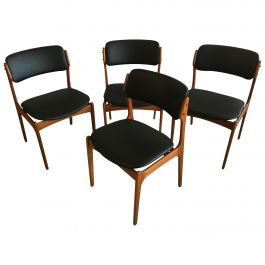 Four Fully Restored Erik Buch Teak Dining Chairs, Reupholstered in Black Leather