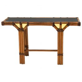 Bamboo and Brass French Console Table Black Glass Top, 1970s