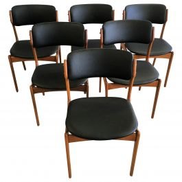 Six Fully Restored Erik Buch Teak Dining Chairs, Reupholstered in Black Leather