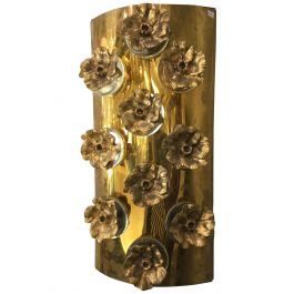 Stunning Italian Wall Lights in Brass with Bronze Decorations