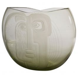 Large Murano Glass Art Vase with Etched Portrait by Barbini