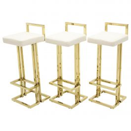 Set of Three French Brass Bouclé Bar Stools by Maison Jansen, 1970s