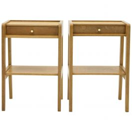 French Pair of Modernist Nightstands One Drawer Oakwood, 1950s