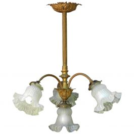 French Chandelier Gilt Bronze Glass Belle Epoque Louis XV rev, circa 1900