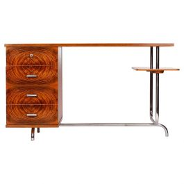 Czech Art Deco Chrome Writing Desk by Jindrich Halabala for UP Zavody, 1930s