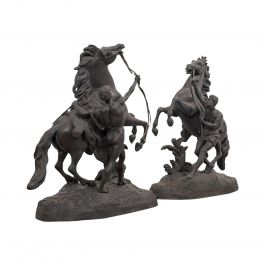 Collectible Antique Pair of Marly Horses French, Bronze, Equine, Statue, Coustou