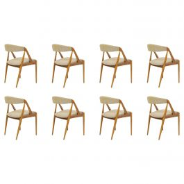 Set of Eight Restored Kai Kristiansen Dining Chairs in Oak, Inc. Reupholstery