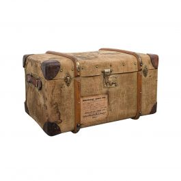 Antique Steamer Trunk, English, Canvas, Leather, Travel Chest, Edwardian