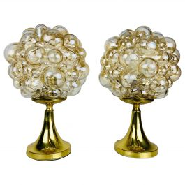 Bubble Glass Table Lamps with Brass Base by Limburg, 1970s, Pair