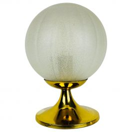 Frosted Ice Glass and Brass Table Lamp by Doria Leuchten, 1970s