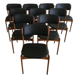 Ten Fully Restored Erik Buch Teak Dining Chairs, Reupholstered in Black Leather