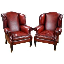 Pair of Duresta Leather Wing Back Armchairs