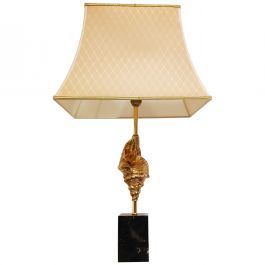 Vintage Brass Sea Shell Table Lamp, 1970's