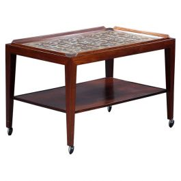 Severin Hansen Rosewood Trolly Table, Serving Table with Royal Copenhagen Tiles