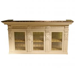 Italian Renaissance Revival Cream and Gold Lacquer Bar Counter with Marble Top