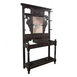 Tall Antique Hall Stand, English, Oak, Mirror, Coat Rack, Chinoiserie, Victorian