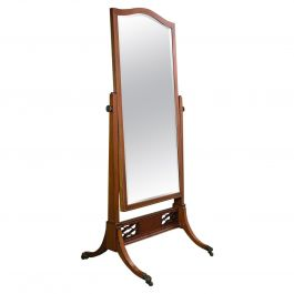 Antique Cheval Mirror, English, Walnut, Glass, Bedroom, Boxwood, Victorian, 1900