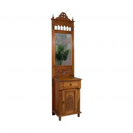 Tall Vintage Hall Stand, English, Walnut, Edwardian Revival, Mirror, Late 20th