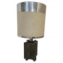 Mid-Century Modern Italian Brutalist Cast Aluminum Table Lamp with its Lampshade