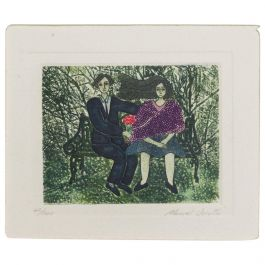 Manuel Urrutia Embossed Color Etching Couple Bench Park