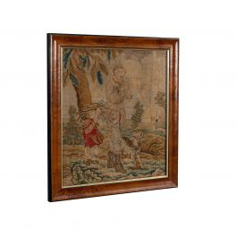 Antique Tapestry Panel, English, Needlepoint, Burr Walnut, Decorative, C.1800