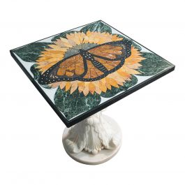Monarch', Vintage Butterfly Pietra Dura Table, English, Decorative, Marble