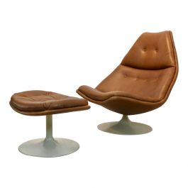 Iconic Artifort F510 Swivel Chair and Ottoman in Leather, Geoffrey Harcourt '60s