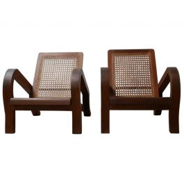 Pair of Re-Construction Style Mahogany and Cane Armchairs