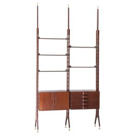 1950s Italian Modern Rosewood Floor to Ceiling Wall Unit