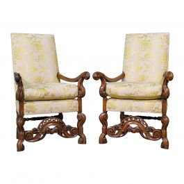 Pair of Antique Drawing Room Elbow Chairs, English, Walnut, Armchair, Georgian