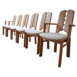 Set of Six Midcentury Pine Dining Chairs, '6'