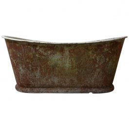 Antique French Cast Iron Bath with Patina