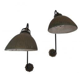 Pair of Large Antique German Mercury Glass Wall Lights