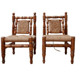 Pair of Mid-Century French Easy Lounge Chairs in Manner of Audoux Minet