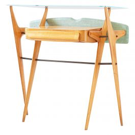 1950s Italian Maple Console Table with Glass Top