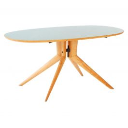 Italian Acer Dining Table with Light Green Glass Top