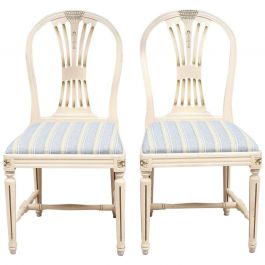 Swedish Gustavian Axet Dining Chairs Grey Green Set of 4, 20th Century