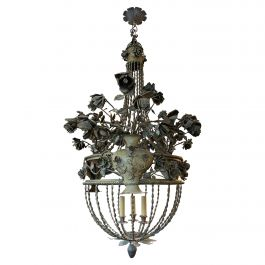A Large Italian Gilt and Wrought Iron Chandelier